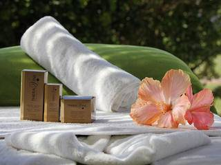 rolled towel and hibiscus flower
